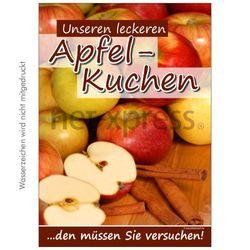 Werbeplakat Apfelkuchen
