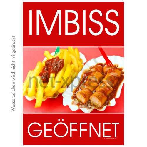 Werbeposter Imbiss geöffnet DIN A0 A1 A2 A3