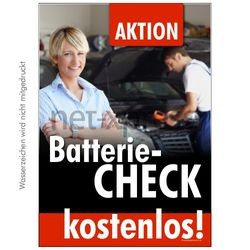 Plakat Batteriecheck hier