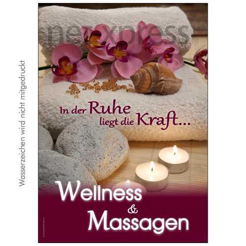 Massageplakat In der Ruhe liegt die Kraft DIN A0 A1 A2 A3