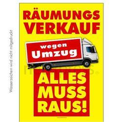 Plakat Räumungsverkauf wegen Umzug