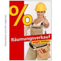 Plakat Räumungsverkauf wegen Umbau
