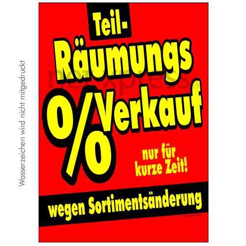 Plakat für Sortimentsänderung DIN A0 A1 A2 A3