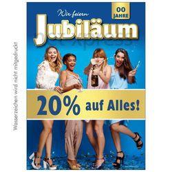 Jubiläums-Plakat 20 Prozent auf Alles