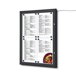 Schaukasten Z-Line LED 4 x DIN A4 für Speisekarten, schwarz