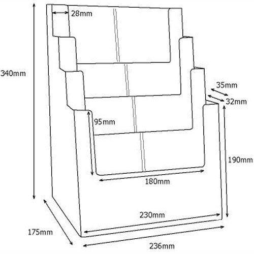 Prospektständer DIN A4 / DIN lang vierstufig MB4C230 - Bild 3 (vergrößert)