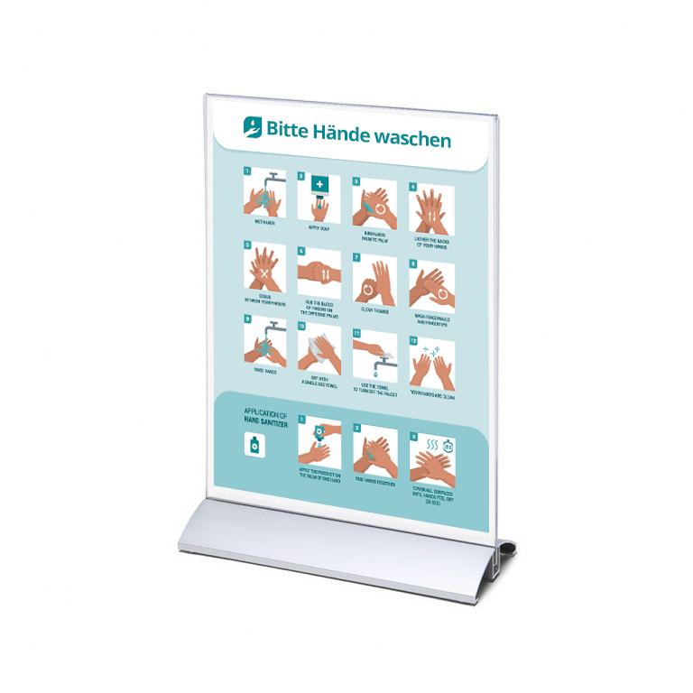 DIN A4 Aufsteller mit Anleitung zum Hände waschen