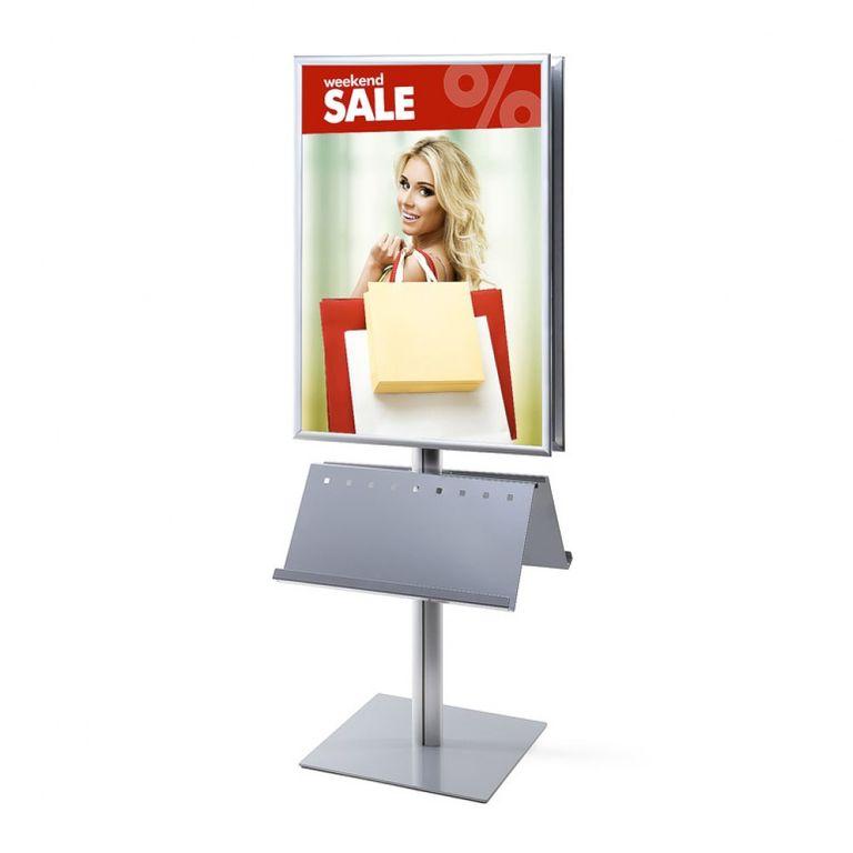 Plakatständer InfoPole 70x100 G25 + Ablagen beidseitig