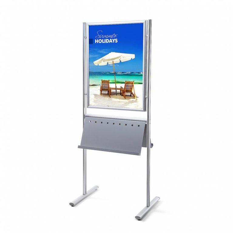Plakatständer Infoboard DIN A1 mit Prospektablage beidseitig