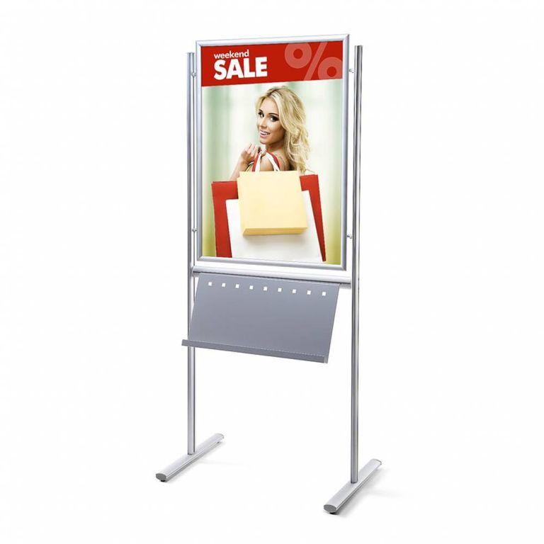 Plakatständer Infoboard 70x100 mit Prospektablage einseitig