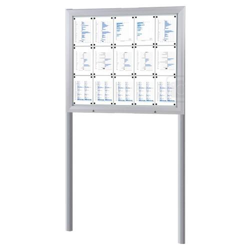 Schaukasten T-Line 15 x DIN A4 mit Ständern (Erdmontage)