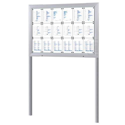 Schaukasten T-Line 18 x DIN A4 mit Ständern (Erdmontage)