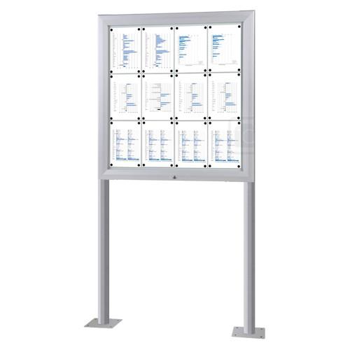 Schaukasten T-Line 12 x DIN A4 mit Ständern, Bodenmontage