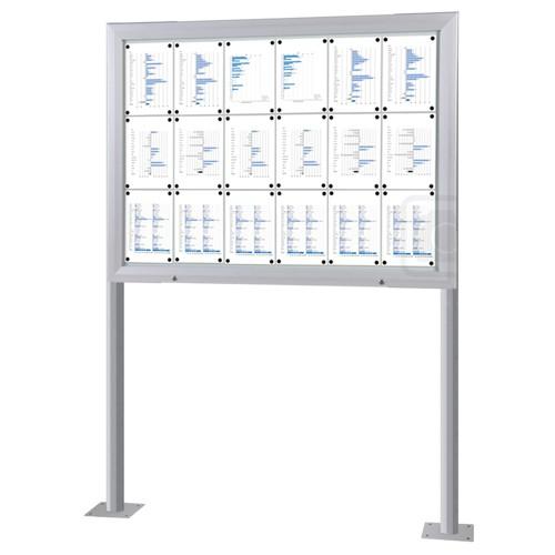 Schaukasten T-Line 18 x DIN A4 mit Ständern (Bodenmontage)