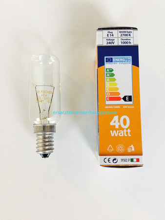 Lampe für Dunstabzugshauben E14 40 Watt 2700K warmlight 1000h Universal