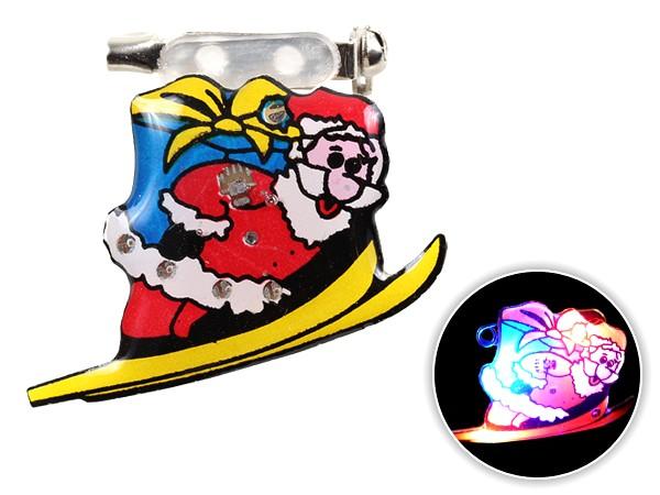 Blinki Anstecker Blinky Brosche Pin Button Weihnachtsmann Ski 49
