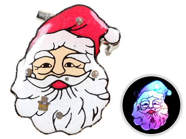 Blinki Anstecker Blinky Brosche Pin Button Weihnachtsmann Gesicht 56