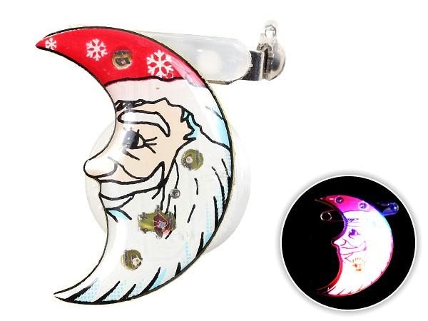 Blinki Anstecker Blinky Brosche Pin Button Weihnachtsmann Mond 58