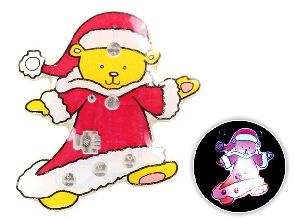 Blinki Anstecker Blinky Brosche Pin Button Weihnachts-Teddy 146