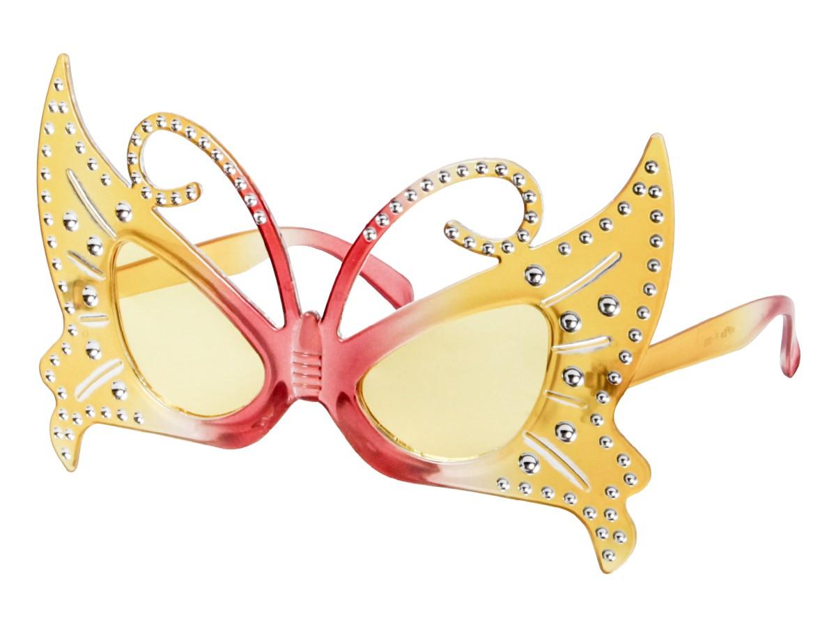 Sonnenbrille Funbrille Partybrille Schmetterling gelb rot 03