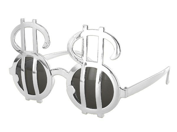 Sonnenbrille Funbrille Partybrille Dollar Brille silber 04