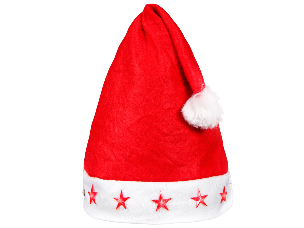 Santa Hat with Red LED lights and Pompom (wm-15) Red White made of Felt for  Adults Men Women d3ae105433