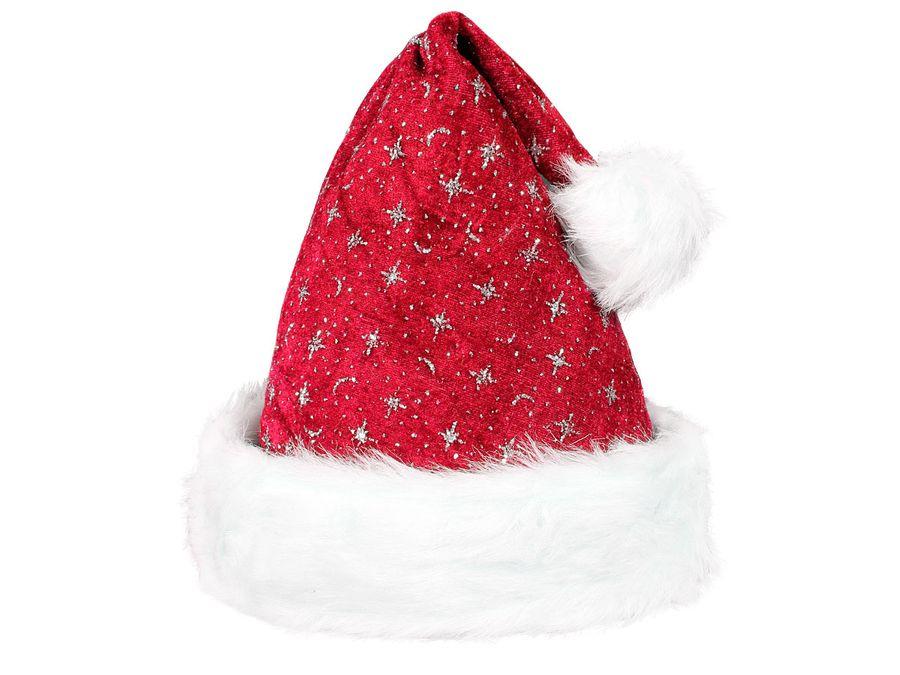 Weihnachtsmütze mit Pelzrand und glitzer rot 01