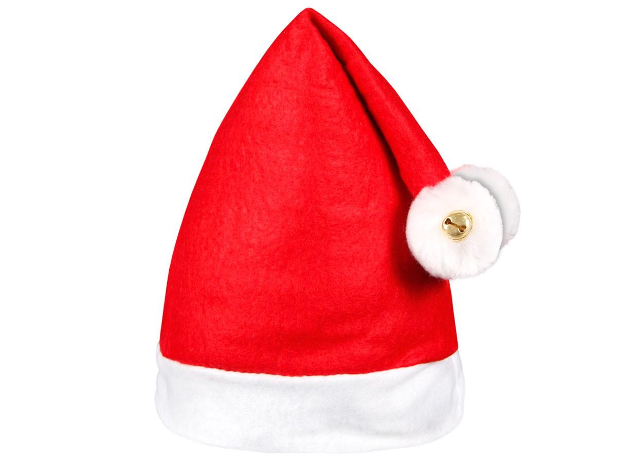 Weihnachtsmütze rot mit 2 Bommeln und 2 Glocken 30