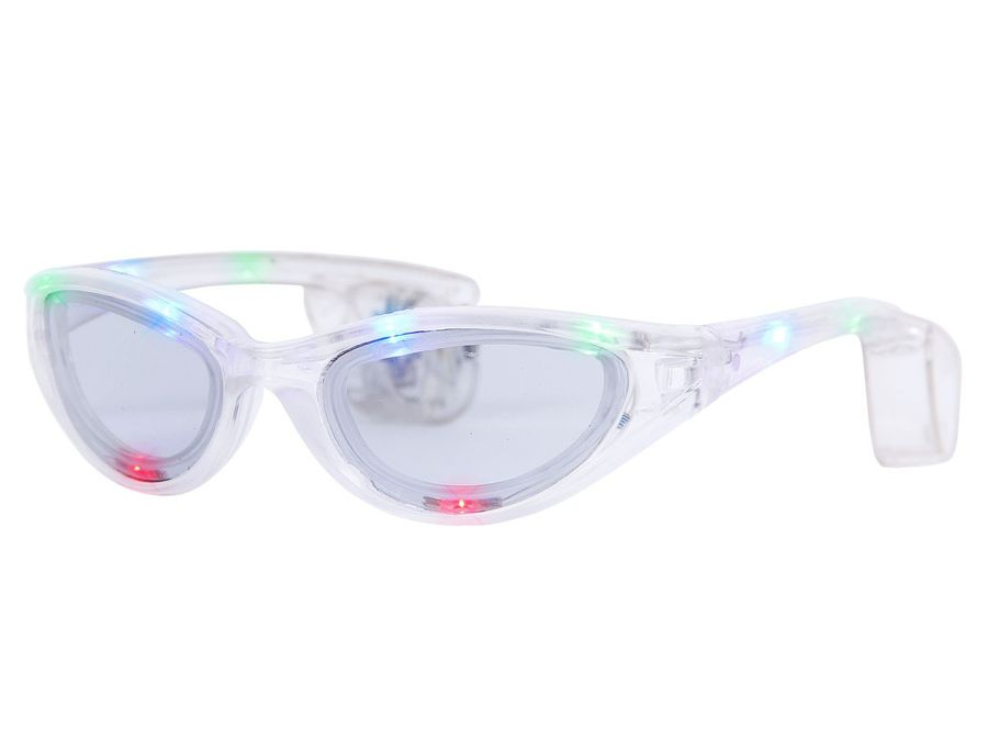 Blinkende LED blink Brille transparent Blinky Eyewear Karneval