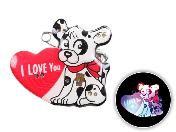 Blinki Anstecker Blinky Brosche Pin Button Hund I Love You 174