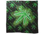 Bandana marijuana vert et noir 100 % coton (ba-131)