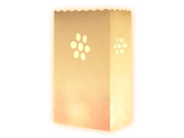 10 Stk. Laterne Lichttüten Kerzentüte Windlicht Tüte weiß Blume
