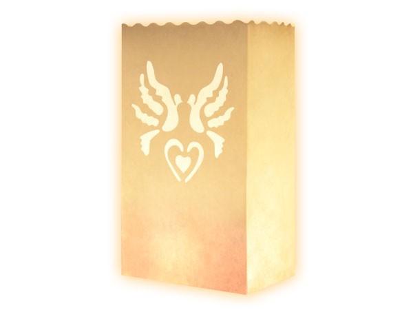 10 Stk. Laterne Lichttüten weiß Tauben Kerzentüte Windlicht Tüte