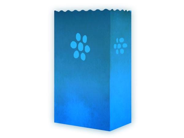 10 Stk. Laterne Lichttüten blau Blume