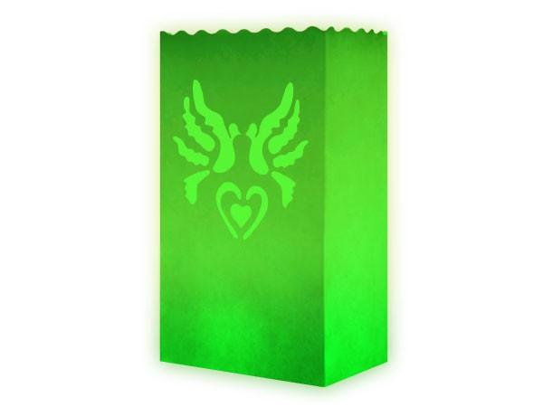 10 Stk. Laterne Lichttüten grün Tauben