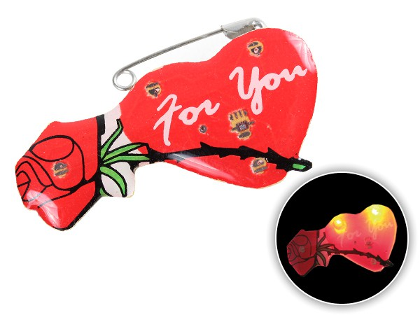 Blinki Anstecker Blinky Brosche Pin Button Herz for you mit Rose 24