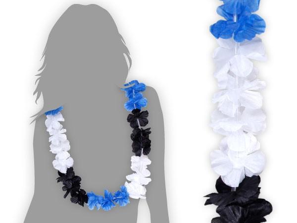 hawaikette blau wei schwarz blumenkette hula deko hawai blume hawaii hsv 38 ebay. Black Bedroom Furniture Sets. Home Design Ideas