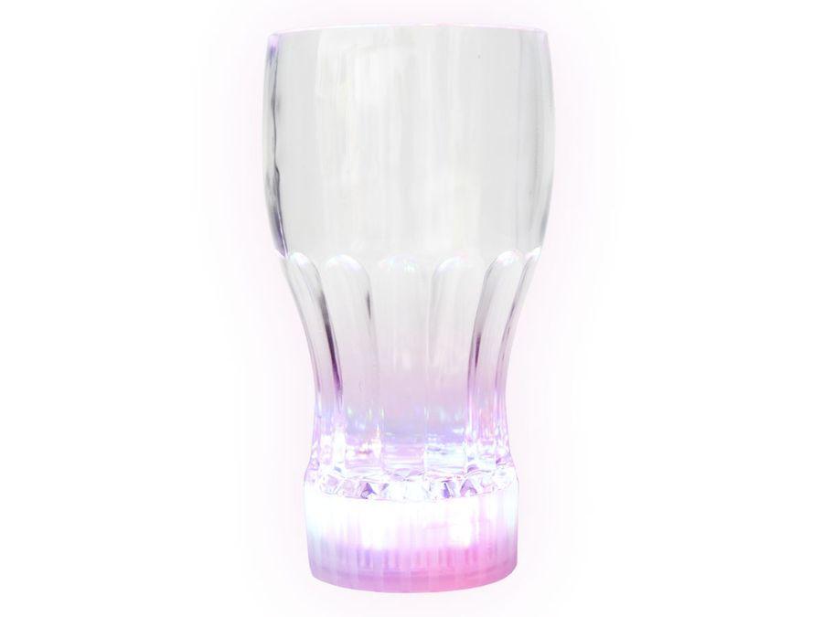 Leuchtendes LED Cola Glas Trinkbecher Leuchtglas Blinkglas 10