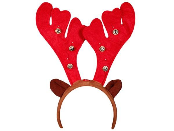 Weihnachts Elchgeweih Rentiergeweih Haarreif mit Licht und Glöckchen wm-20