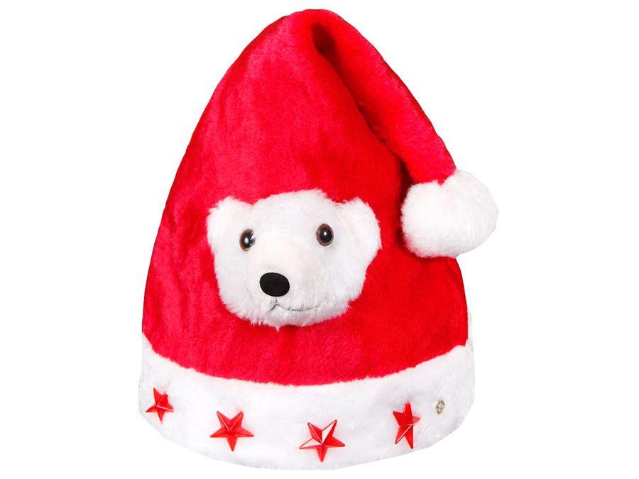 Weihnachtsmütze mit Blinksternen und weißem Bär wm-44a