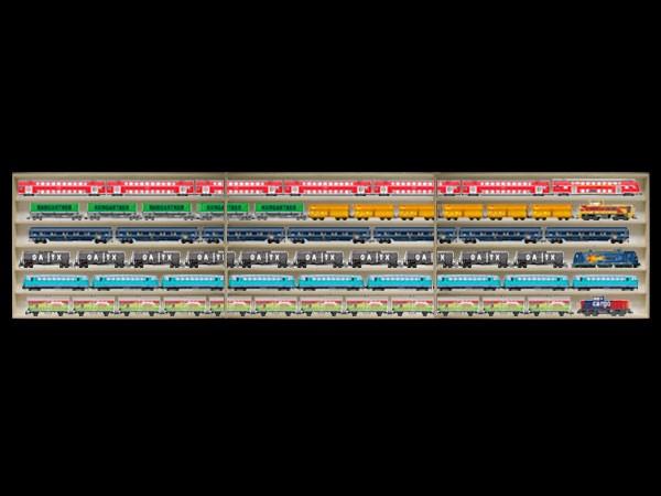 4,50 m lang HO Vitrine, Regal mit Nuten für Spur H0 3E16ALRM