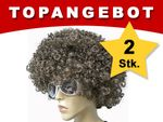 Afro Wig XXL BIG Set of 2 13094 Funky Brown for Carnival Theme Partys Halloween Woman Man for Adults from Alsino