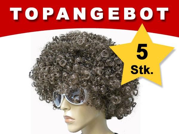 5 Stück Braune Mega Funky Party XXL Afro Perücke