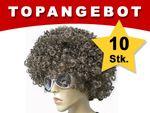 10 Stück Braune Mega Funky Party XXL Afro Perücke