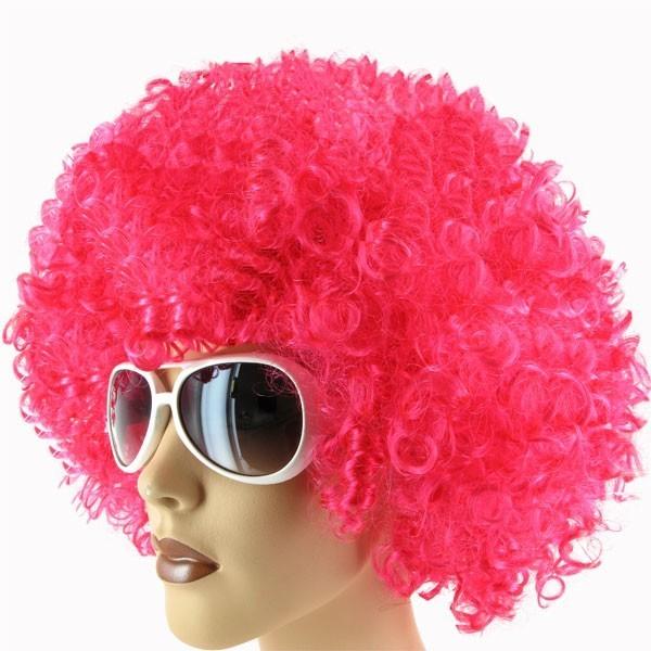 10 Stück Mega Funky Afroperücke Party XXL Afro Perücke pink