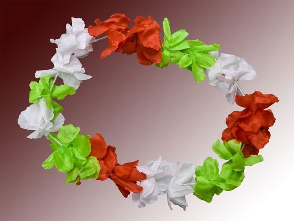 Hawaiiketten Blumenkette Hula Deluxe rot grün weiß  HKm-13