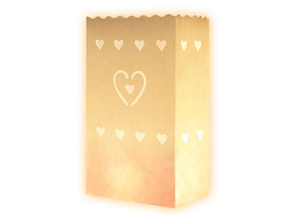 Lichttüten weiß - kleines Herz - 10 Stück