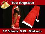 12 Stk. Weihnachtsmütze XXL ca.110 cm lang rot 06