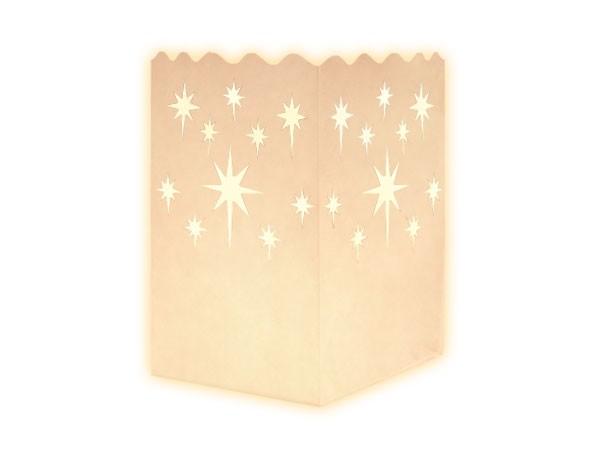 10 Stk. Mini Laterne Lichttüten weiß Sterne spitz 01