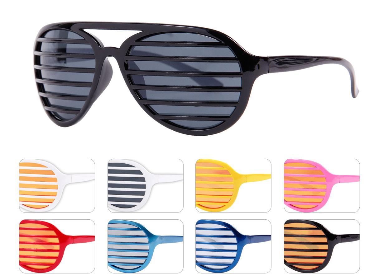 Atzen-Brille Shutter-Shades Sonnenbrille Verspiegelt Disco-Brille ...